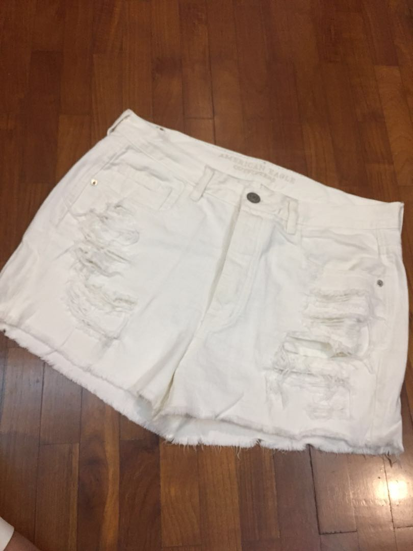 d9145537b2 American eagle outfitters ripped white denim shorts, Women's Fashion ...
