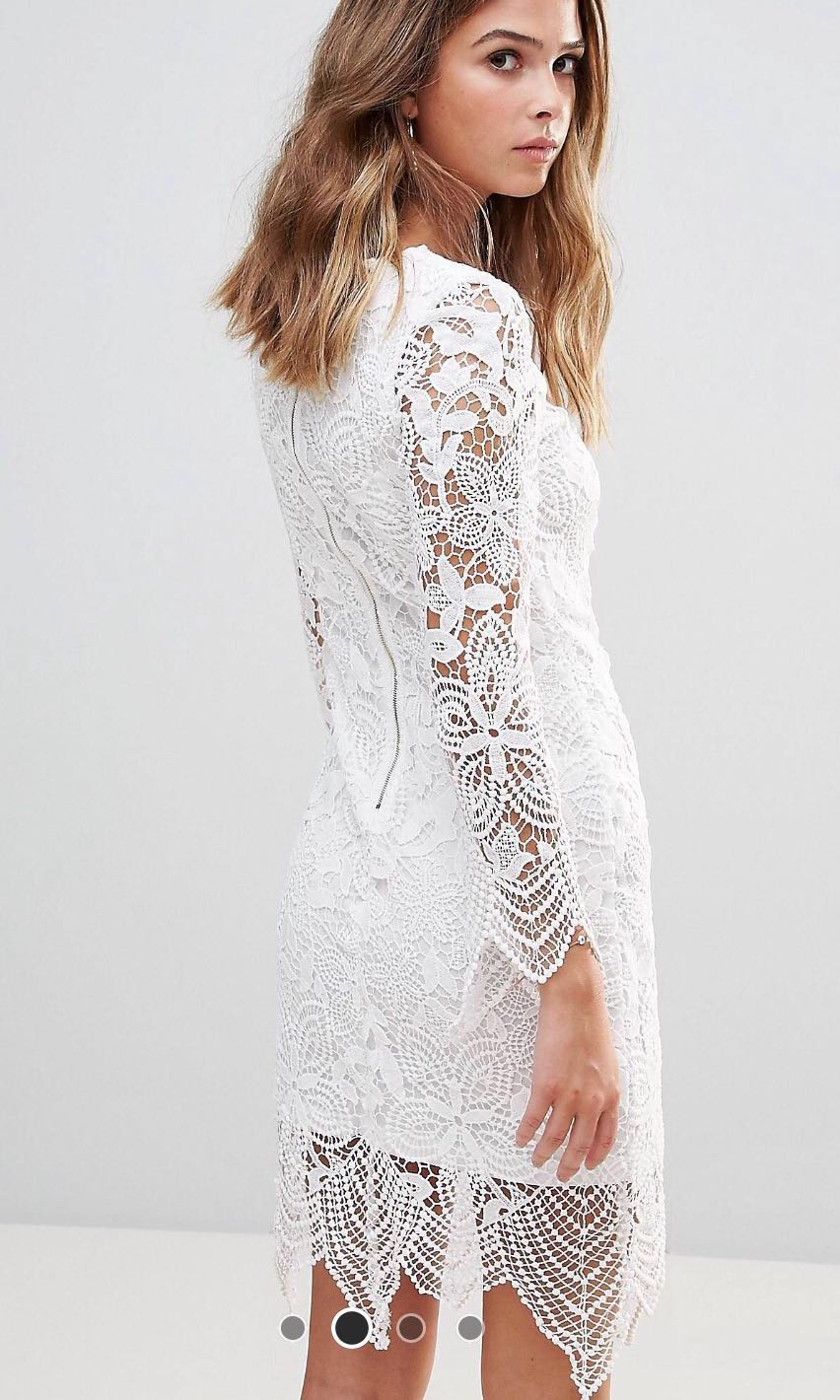 Reduced Price Asos White Lace Dress Size 12 Uk Womens
