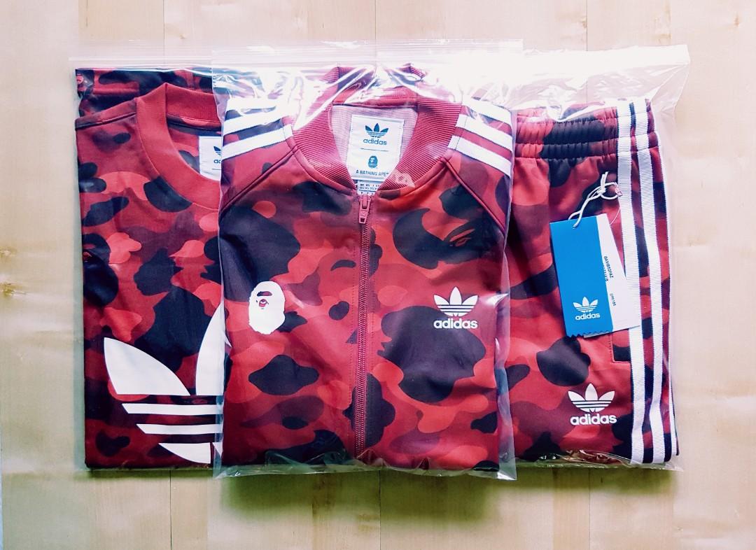 d7201e516b Bape X Adidas Red Camo Tracksuit Set, Men's Fashion, Clothes, Tops ...