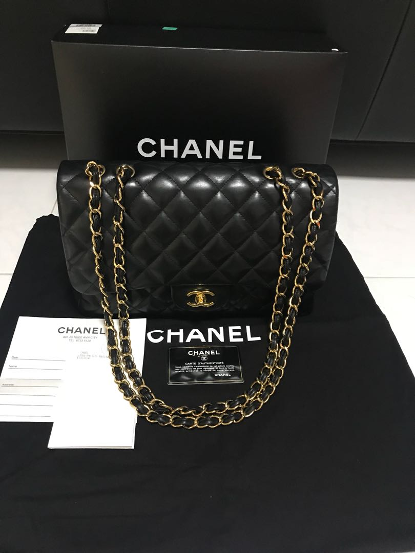 6a58c868fcdf CHANEL Jumbo Single Flap in Black Lambskin GHW