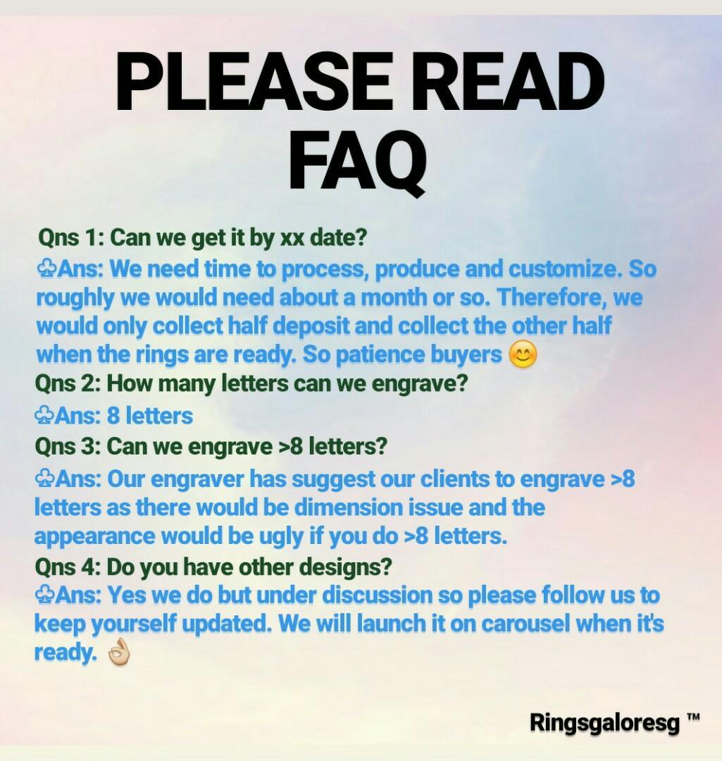 Couple rings FAQ enquiries answered!! Free engravement