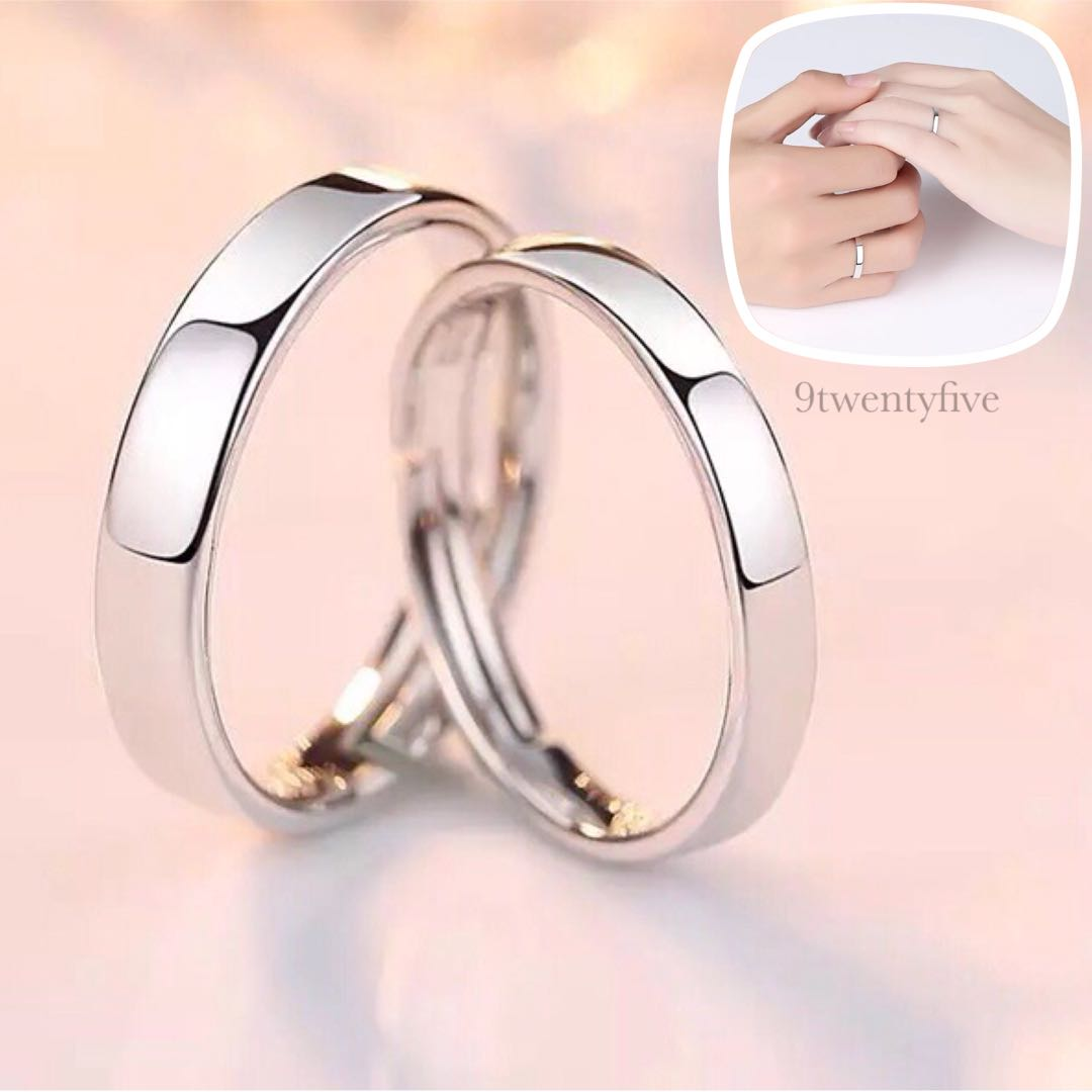 CPR-001 • Couple💖S925 Silver Classic Plain Band Rings • FREE SIZE ...