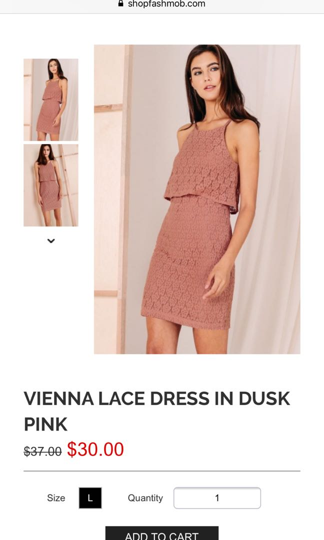 e4dccbc82dc FASHMOB VIENNA LACE DRESS IN DUSK PINK