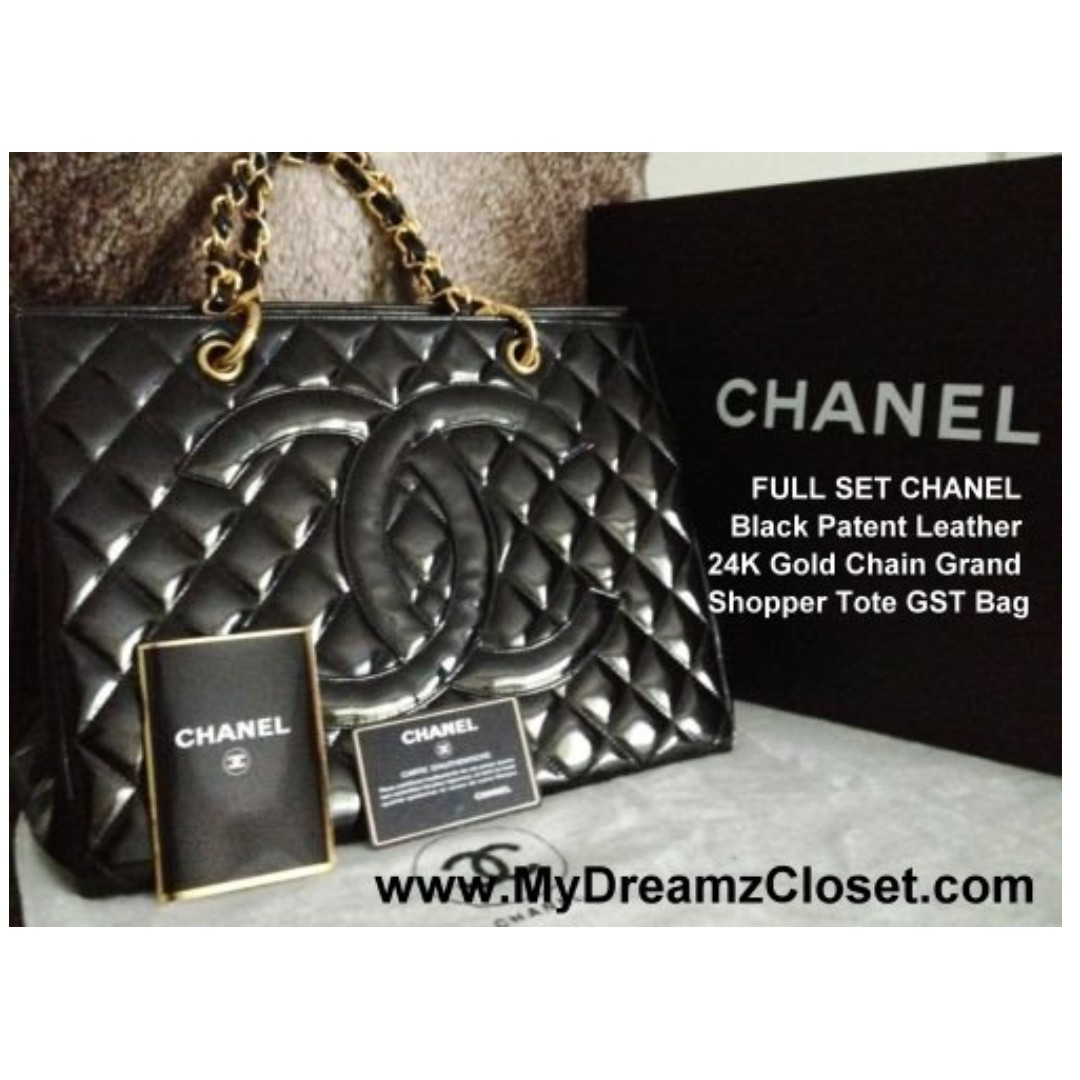 8209daad8b62 FULL SET MINT CHANEL Black Patent Leather 24K Gold Chain Grand ...
