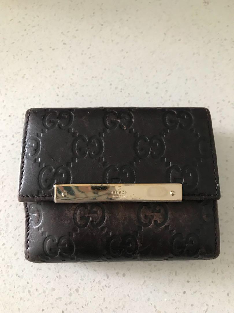 Gucci Guccissima Leather Bifold Wallet Purse Dark Brown c06c5b6faf058