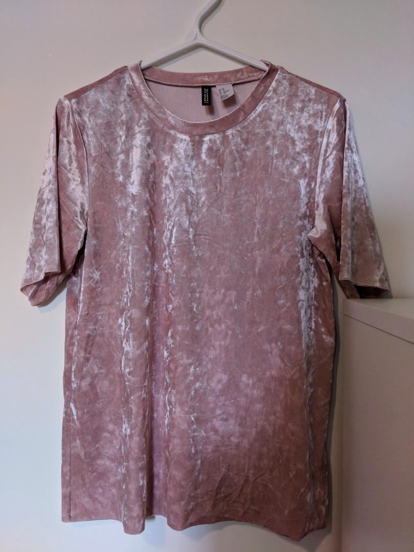 HM Pink Velvet Oversized Shirt (Size XS)