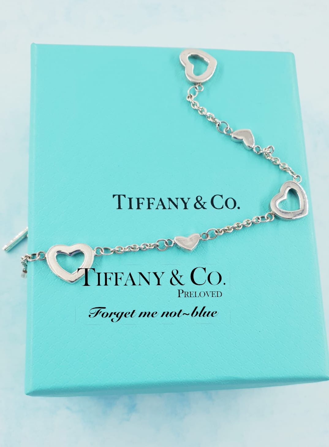 dc82d89d297 MINT! Authentic Tiffany & Co. Sterling Silver Open Hearts Lariat ...