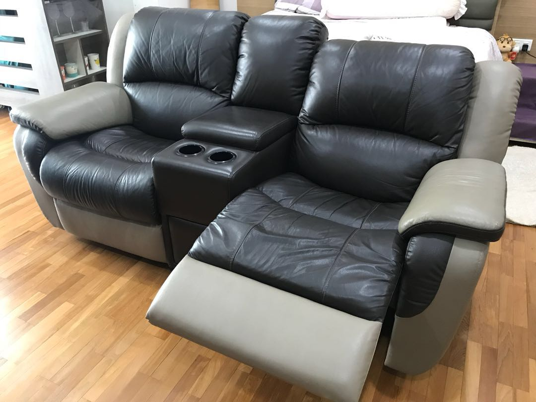 Moroso 2-Seater Leather Recliner Sofa, Furniture, Sofas on Carousell