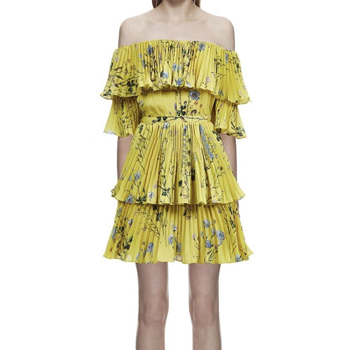 ae8fcce26488 PO - Bohemian Sexy Off Shoulder Yellow Floral Printed Pleated Beach ...
