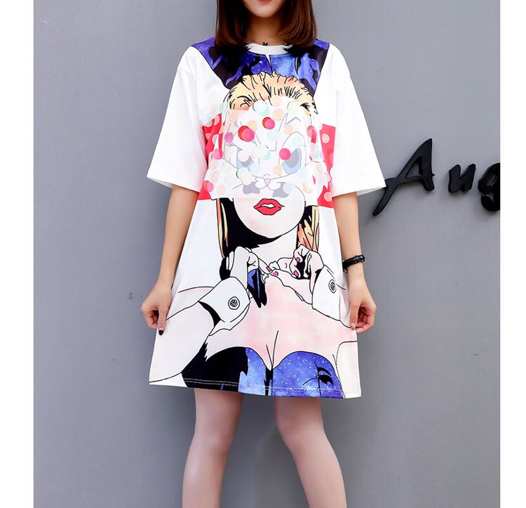 ab3f3d401f PO) M-XXL TShirt Dress Summer Masked Cartoon Girls Print Short ...