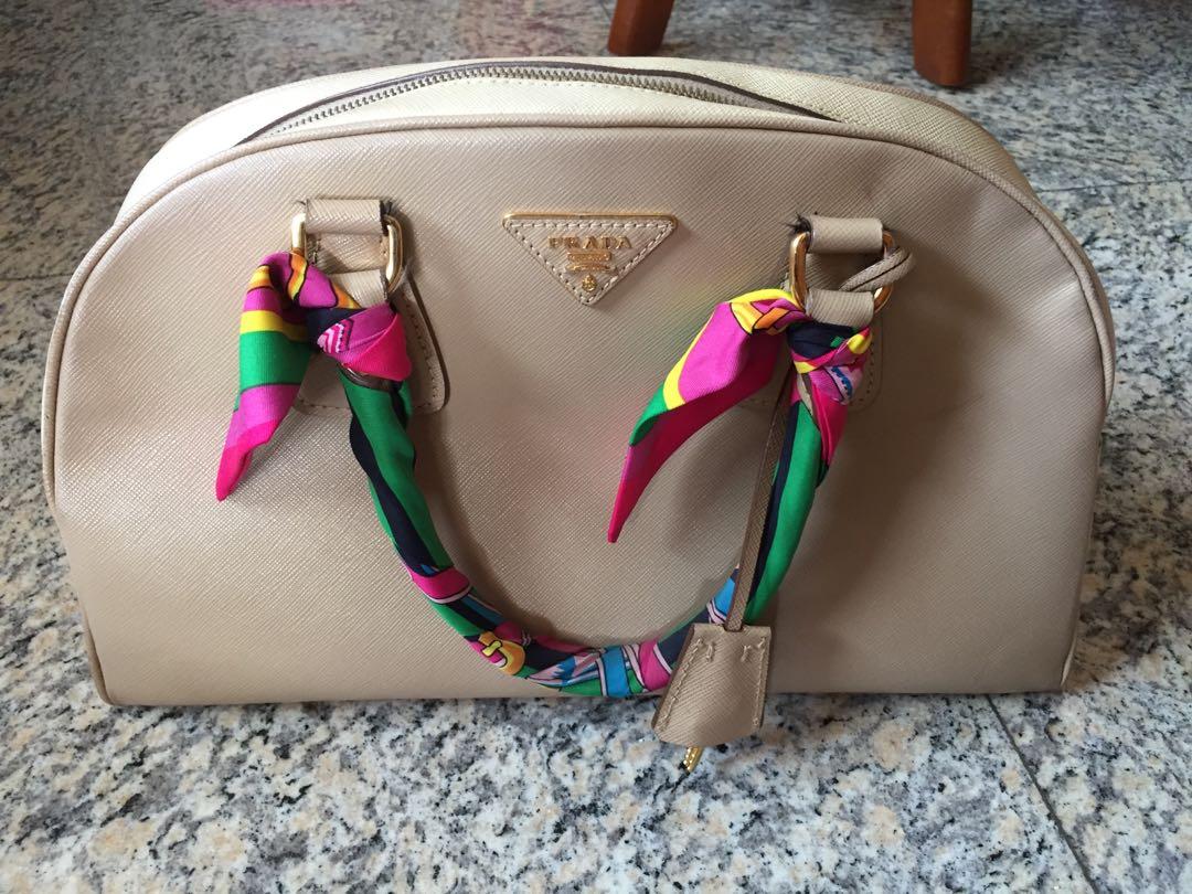 6bc7851c4095 prada nude saffiano bag, Luxury, Bags & Wallets, Handbags on Carousell