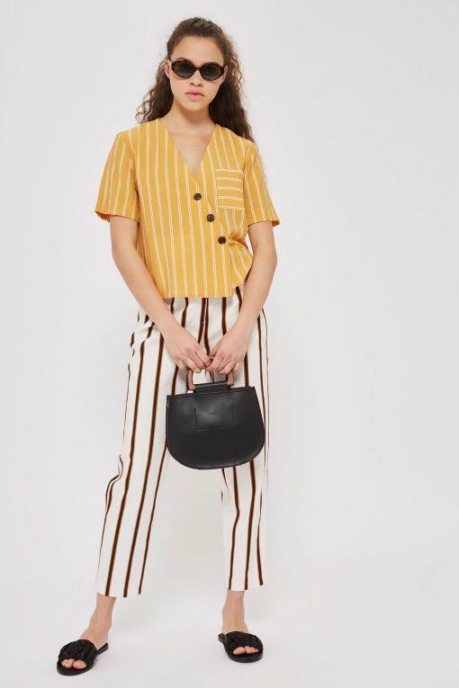 3566a656dff Topshop Stripe Yellow Linen Button Top