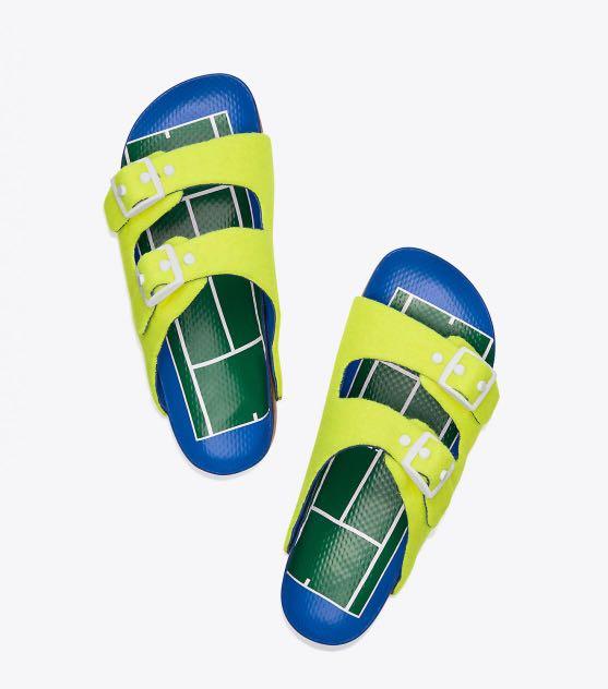 6601ac21d1a3d Tory Burch Womens Tennis Buckle Sandals Fluo Yellow