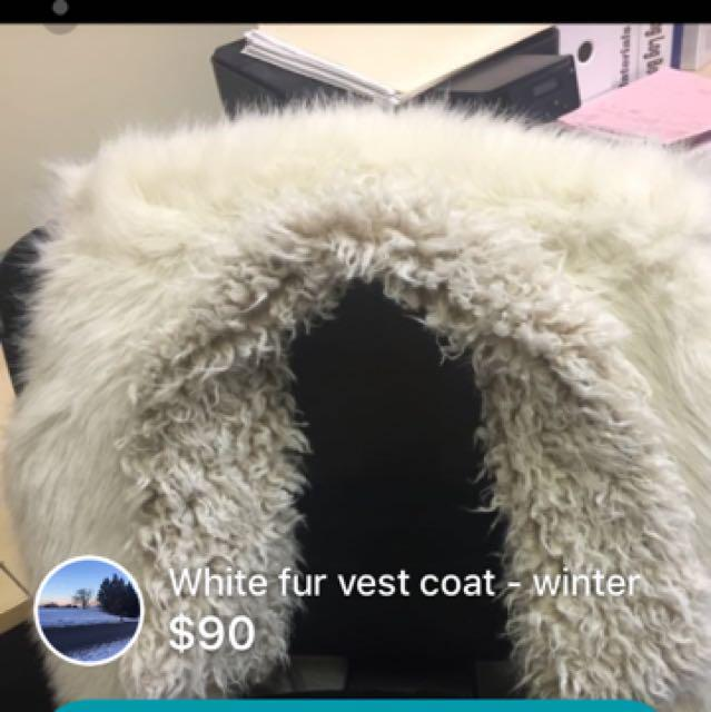 White long vest coat fur