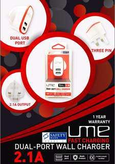 UME Dual USB Port Wall Charger