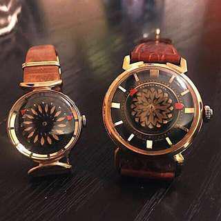"""【古董依波路】(分開買請chat我) 一對 Famous 60-70's Vintage Ernest Borel """"Cocktail"""" Automatic Watch For HIM And HER. 錶面不停轉動,每秒鐘都顯示萬花筒圖案。男裝的更是一隻很罕有的表面!"""