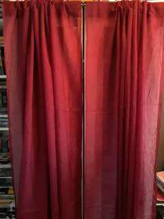 Red/Burgundy Long End Curtains