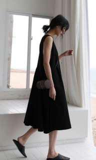 IOZ 韓國 黑色棉麻洋裝