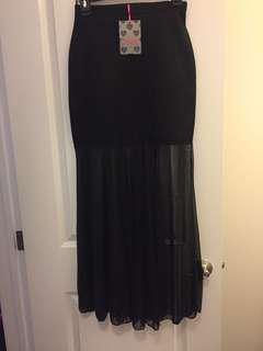 Boohoo black maxi skirt