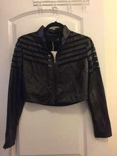 Cropped black leatherette jacket