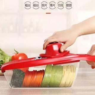 全新6刀片內置式切菜器,家用切絲切片切花 磨蓉,厨房多功能瓜果蔬菜 刨絲神器