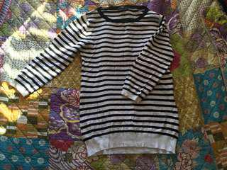 Size small black and white striped jumper by Cue