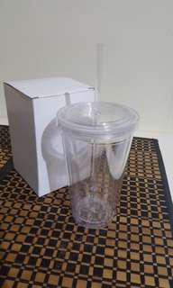 Clear acrylic tumbler with straw