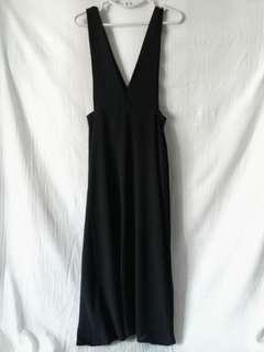 黑紡紗吊帶背心長裙