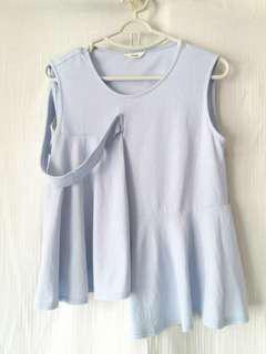 韓國淡藍色拼布款背心 棉質