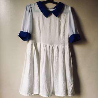 White & Blue Mini Dress
