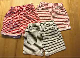 Girl's red and white checkered/ stripes shorts (3-5yrs)