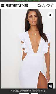 White Frill Split Bodycon