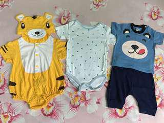 🆓Postage!!!! Baby Boy Animals Rompers & Shirt Set