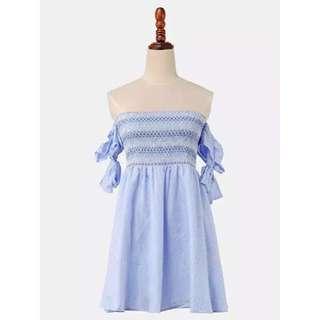 間條抹胸一字膊連身裙 淺藍色(包郵費/順豐)