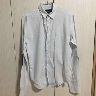 ZARA 淡藍色 極細條紋 長袖襯衫