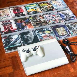 PS3 500GB White 90% new Super Slim with controller and 15 original games