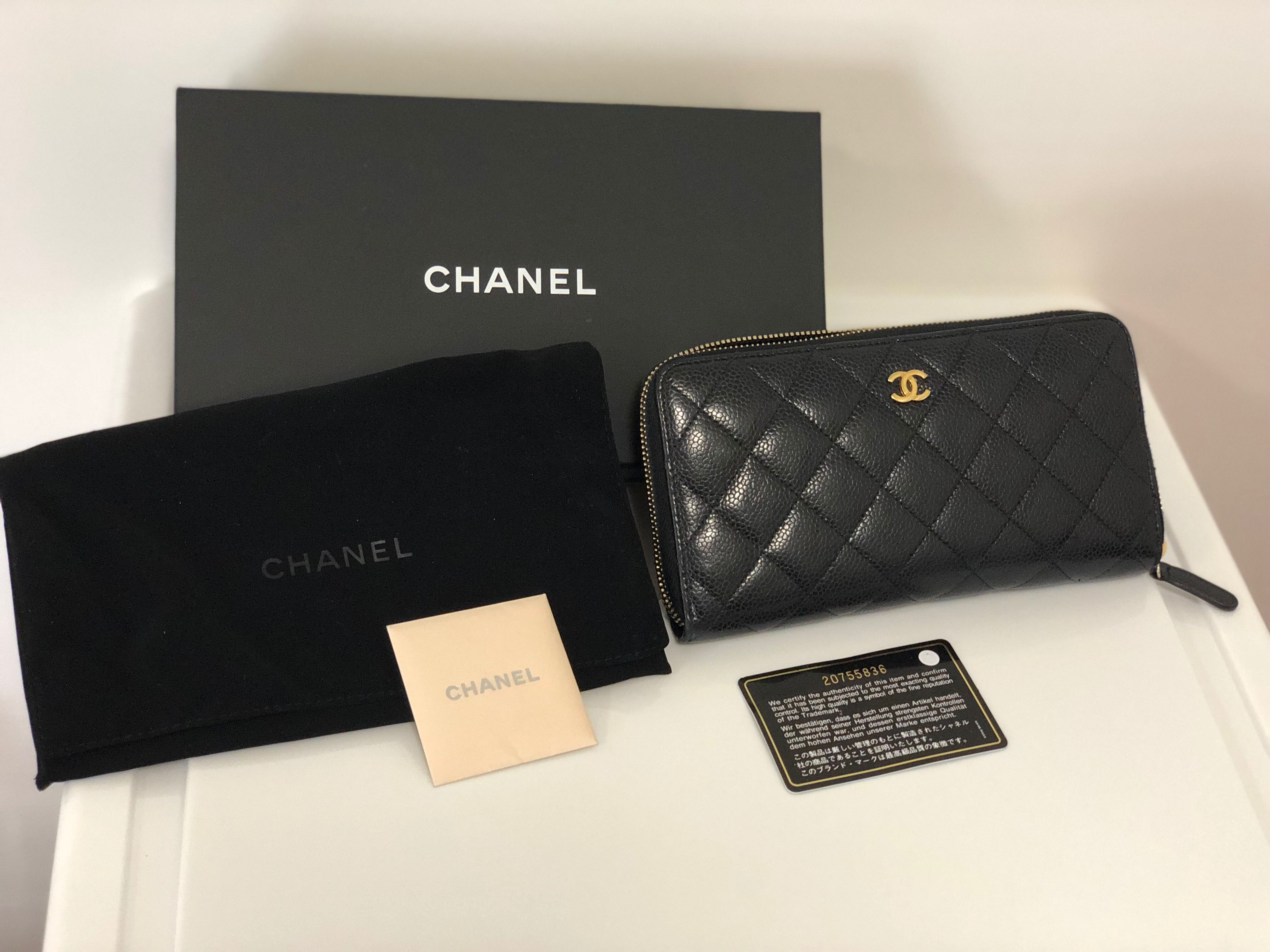 581ab2ccc42f 100% Authentic CHANEL zip around wallet in black Caviar leather with Gold  hardware, Luxury, Bags & Wallets, Wallets on Carousell