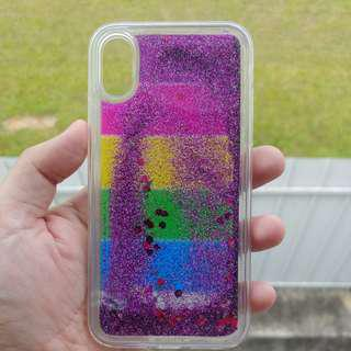 iPhone Xs X Rainbow Floating Glitter Cover Case Clear Apple
