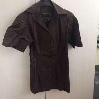 Dai Dark Chocolate Brown Structured blouse