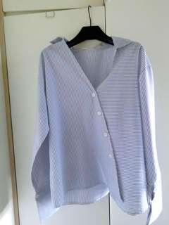 藍白大領直間上衣恤衫 blue x white stripe shirt