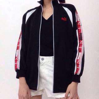 Puma Bomber Jacket Red Side Tape Black White Sports Women