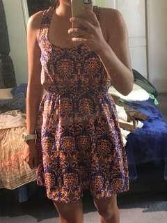 Orange and Blue Dress Size 6