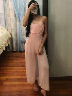 Baby Pink Sweetheart Tube Jumpsuit