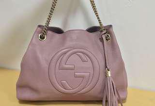 Authentic Gucci Soho Tote Leather Bag with GH Chain Strap