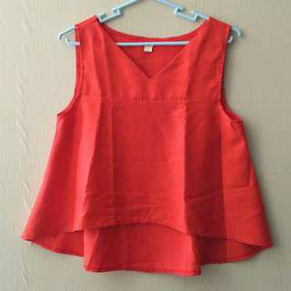 Red sleeveless crop top