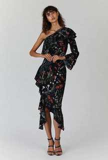 NEW BACKSTAGE FLORAL ONE SHOULDER RUFFLE MIDI DRESS