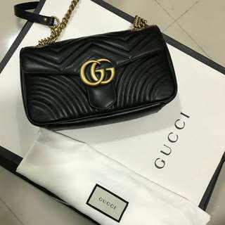 NEW !!! Fresh receipt july 2018 Gucci marmont 26 cm 2018 complete set box receipt dustbag and paperbag only and receipt store