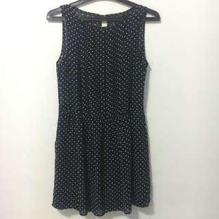 Zara Dotted (Polkadot) Navy Midi Dress