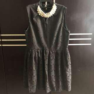 Preloved Black Classic Pattern Dress with Neck Pearl