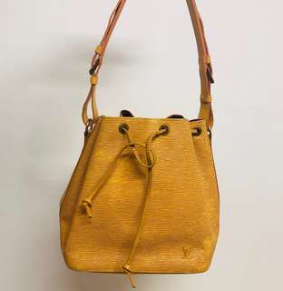 Louis Vuitton Bucket Bag - EPI 系列Vintage Petit Noe 樹紋 黃色 復古水桶袋 LV
